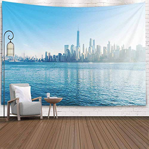 Hudson River Park Halloween (Teepel Hanging Wall Art Tapestry,80X60 Inch Home Wall Hanging Decor Scenic View New York River Liberty State Park Wintertime Jersey USA Hudson Wall Tapestry for Bedroom,Tapestry Wall Hanging)