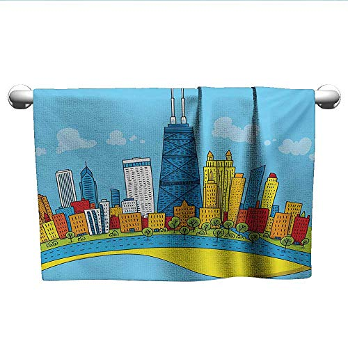 """alisoso Chicago Skyline,Gym Towel Cute Cartoon Style Childish City View with Colorful Buildings Caricature Pool Gym Towels Multicolor W 28"""" x L 14"""""""