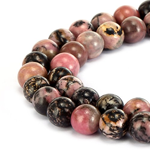 BRCbeads Gorgeous Natural Black Stripe Rhodochrosite Gemstone Smooth Round Loose Beads 4mm Approxi 15.5 inch 88pcs 1 Strand per Bag for Jewelry Making ()