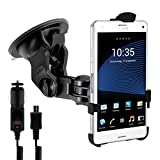 Car mount for windshield for Sony Xperia Z3 Compact with perfectly fitting shell + charger - Turn your mobile phone into a navigation device!