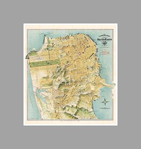 - ArtsyCanvas San Francisco - Vintage City Maps - 22x24 Matte Poster Print Wall Art
