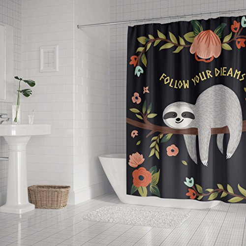 LifeCustomize Cartoon Sloth on the Tree Follow Your Dreams Shower Curtain 66x72 Inch Polyester Waterproof Bathroom Curtain with Hooks]()