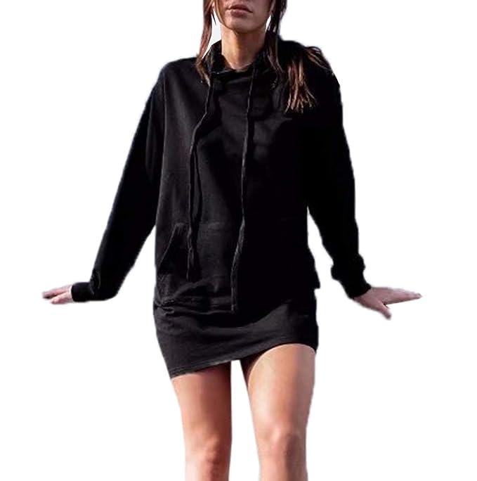 Otoño Invierno Mujer Sudaderas Vestido Top Manga Larga Túnicas Pulóver Jersey con Capucha Largas Jerséis Hoodie Joven Moda Vestido de Partido Sweatshirt ...