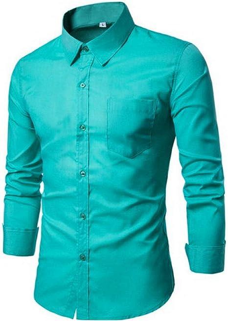 YFSLC-Studio Camisa De Manga Larga Hombre,Verde Gris Hombres Visten Camisa Manga Larga Camisas Slim Sólido Diseñador De Ropa Masculina Colocar Cómodos De Llevar Camisas De Negocios,3XL: Amazon.es: Deportes y aire libre