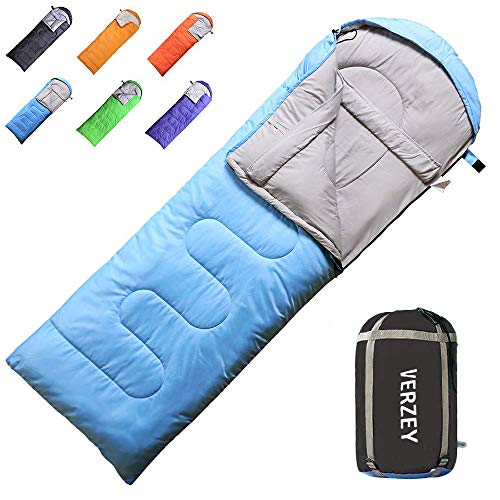 VERZEY Mummy Envelope Camping Sleeping Bag, Great for 3 Season, Hiking Outdoor Activities Waterproof Lightweight Sleeping Bags for Adults, Youth,Teens ,Kids & Boys ()