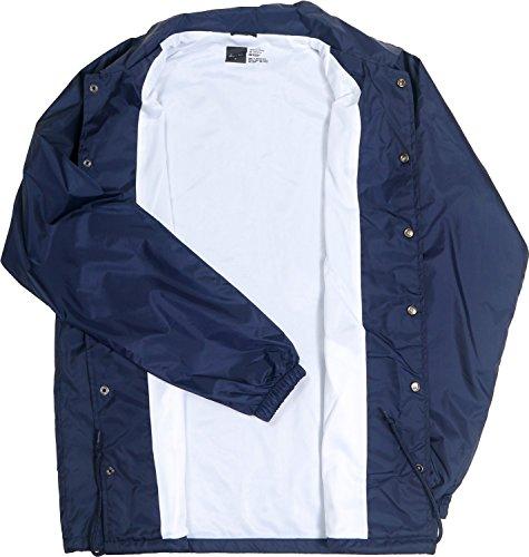 (Coach Jacket Premium Quality Lightweight 100% Nylon Windbreaker Waterproof Rain Navy Blue)