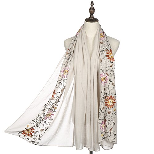 Women Fashion Scarf Shawl Wrap,RiscaWin Colorful Lightweight Exquisite Daisy Flower Embroidered Scarves(Beige) -