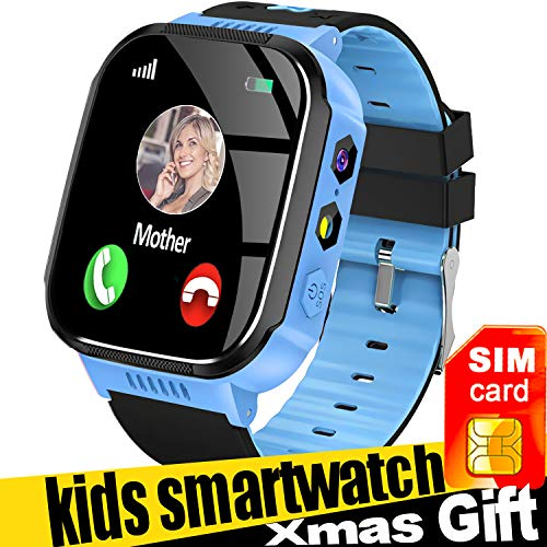 Smart Watch for Kids with SIM Card, Best Gifts for 4-12 Year Old Boys Girls, Kids Smart Watch GPS Tracker Watch with SOS Call Camera Touch Screen Game Alarm for Kids Boys Girls Gift (Blue)