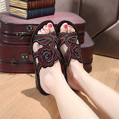 ZPPZZP Ms sandali pantofole trapano artificiale spessa di mezza età e anziani red 38EU
