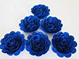 Royal Blue Roses, Big 3'' Blooms, Set of 6, Wedding Flowers, Bridal Shower Decor, Baby Nursery, Event Planning Floral Decorations, Always In Blossom, Handmade Paper Flowers