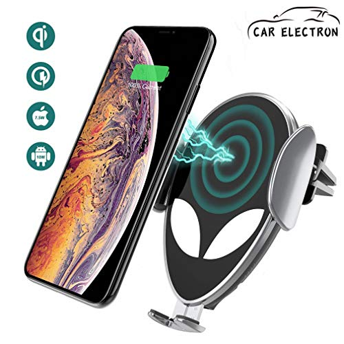 (Wireless Car Charger Mount/Automatic Clamping Gravity Sensor Car Phone Mount/10W 7.5W 5W Qi Fast Charging Air Vent Phone Holder,Silver)