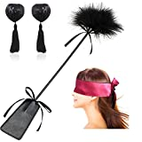 Christmas Gift Leather Spanking Paddle with Feather Whip Crop and Satin Eye Mask, Reusable Silicone Sequin Adhesive Nipple Cover Pasties Bra