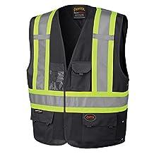 Pioneer V1021570-L/XL High Visibility Safety Vest, Black, X-Large