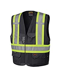 Pioneer Adjustable Reflective Safety Vest, ID & Phone Pockets, Black, L/XL, V1021570-L/XL