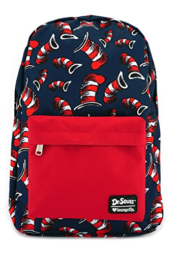 Dr. Seuss Cat in the Hat All Over Hat Print Backpa Standard (Cat In The Hat Candy Bar Wrapper)