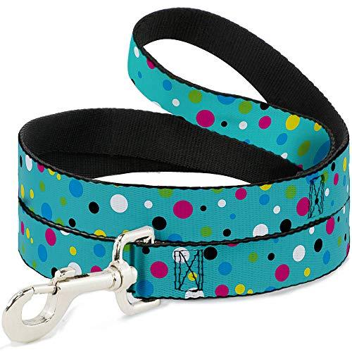 - Buckle Down Dog Leash Dots Seafoam Green Multi Pastel 6 Feet Long 0.5 Inch Wide