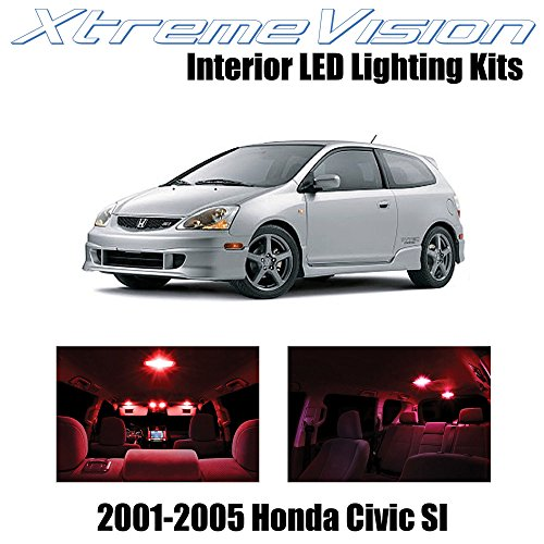 Red Power Package (XtremeVision Honda Civic SI Only 2001-2005 (7 Pieces) Red Premium Interior LED Kit Package + Installation Tool)