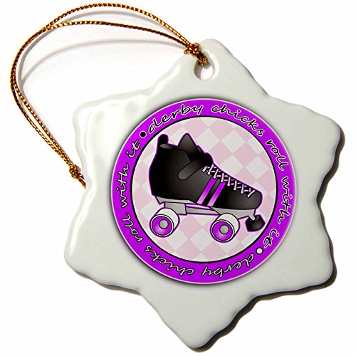 Derby Porcelain (3dRose orn_28510_1 Derby Chicks Roll with it Purple and Black with Black Roller Skate Snowflake Decorative Hanging Ornament, Porcelain, 3-Inch)