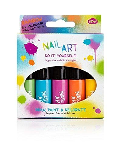 NPW-USA 5 Piece Nail Art Pens, Rainbow Brights Inc NP2959