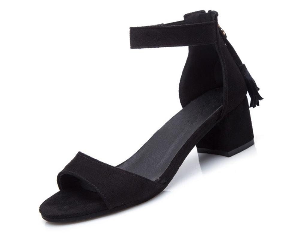 Student Sommer Quaste offene Schuhe Wort offene Quaste Spitze Sandalen mit dicken Schnalle mit der schwarz 46e4a4