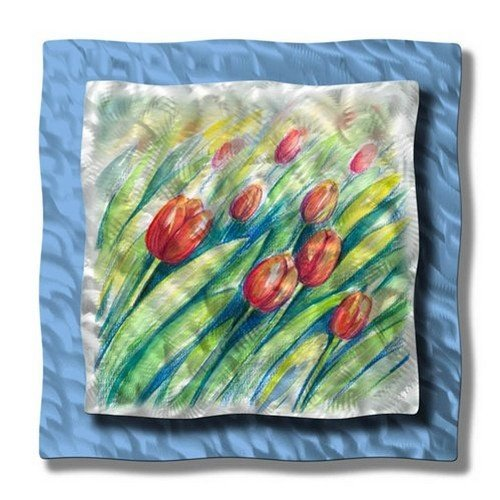 floral tulips metal wall art modern home decor wall sculpture