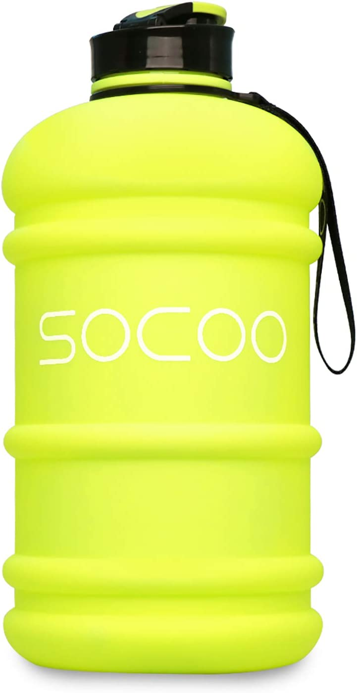 SOCOO 1.0-2.2L Water Bottle Motivational Workout Fitness Jug/BPA-Free for Gym Athletic Outdoor Sports Water Bottle (2.2L Lemon Yellow)
