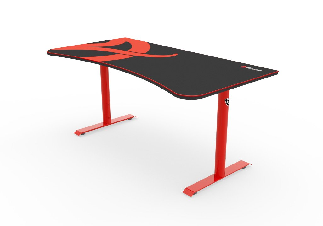 amazon com arozzi arena gaming desk red home kitchen rh amazon com black gaming desk ikea black gaming computer desk