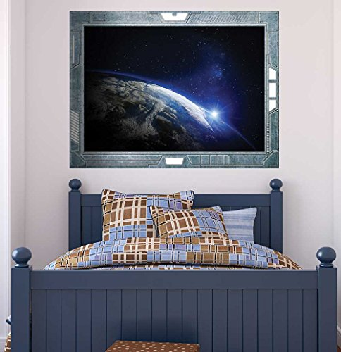 Science Fiction ViewPort Decal View of the Edge of the Earth Wall Mural