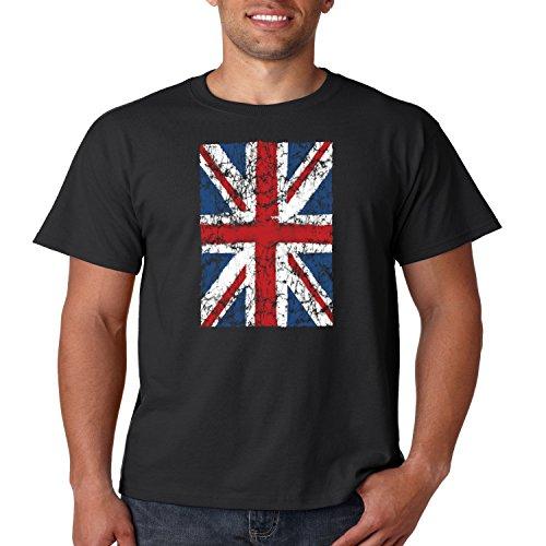 Juiceclouds | Mens Distressed Union Jack T Shirt United Kingdom National Flag S-5XL (Black, M) (United Kingdom Shirt compare prices)