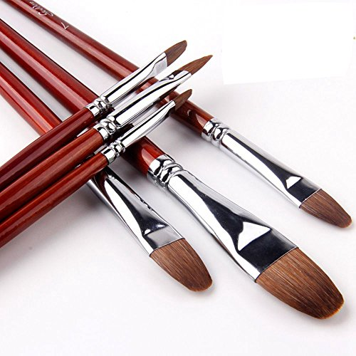 GOLDEN MAPLE Filbert Paint Brush Set Sable Weasel Hair Long Handle for Acrylic Oil Gouache Watercolor Painting Brush Set Artist 6Pcs/Set. (128-1) ¡­