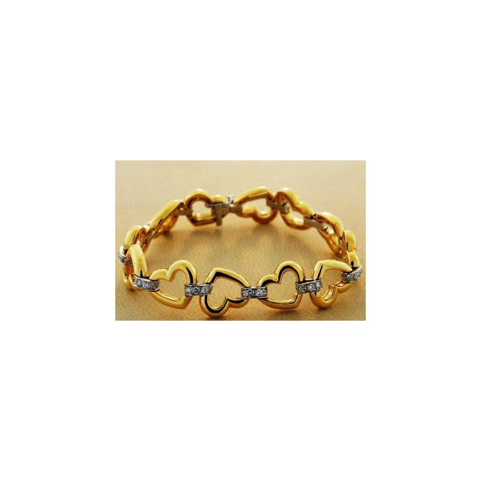 18kt Two Tone Gold Diamond Heart Bracelet (1.65 ct. tw.)