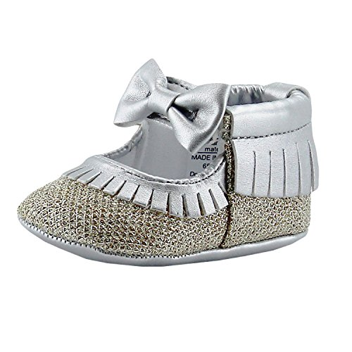 (Rosie Pope Glamour Girls Baby Girls Party Shoes 3-6 Months Crib Shoes Baby Shoes Girls Dress Fancy Shoes Silver Gold)
