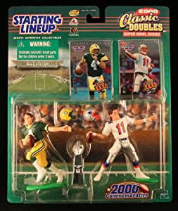 BRETT FAVRE / GREEN BAY PACKERS & DREW BLESOE / NEW ENGLAND PATRIOTS 2000 NFL Classic Doubles * Super Bowl Series * Starting Lineup Action Figures & Exclusive Collector Trading Cards
