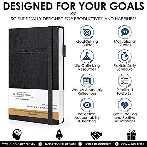 Wordsworth Planner 2019 Daily & Weekly Agenda to Achieve Your Goals & Live Happier - Gratitude Journal & Productivity Organizer (Compact A5 Size) - Bonus eBooks & Stickers Photo #3