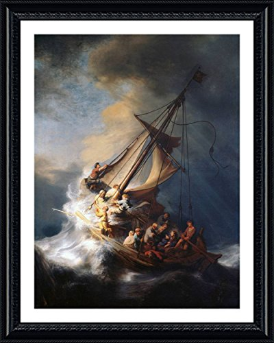 (Alonline Art - Christ In The Storm Sea Of Galilee by Rembrandt | Black framed picture printed on 100% cotton canvas, attached to the foam board | Ready to hang frame | 30