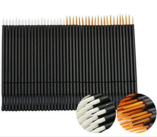 Coshine 100pcs 2 Styles Disposable Nylon Eyeliner Wands Applicator Eyeliner Lip Liner Brushes