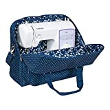 Everything Mary Deluxe Blue Sewing Machine Carrying Storage Case - Sewing Machine Tote Fits Most Standard Size Brother and Singer Machines - Portable Sewing Case with Shoulder Strap for Travel