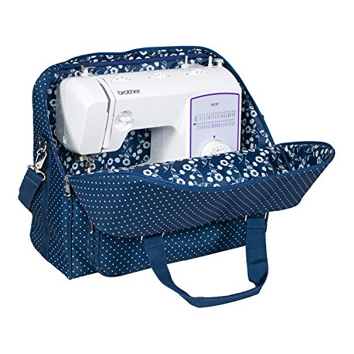 (Everything Mary Deluxe Blue Sewing Machine Carrying Storage Case - Sewing Machine Tote Fits Most Standard Size Brother and Singer Machines - Portable Sewing Case with Shoulder Strap for Travel)
