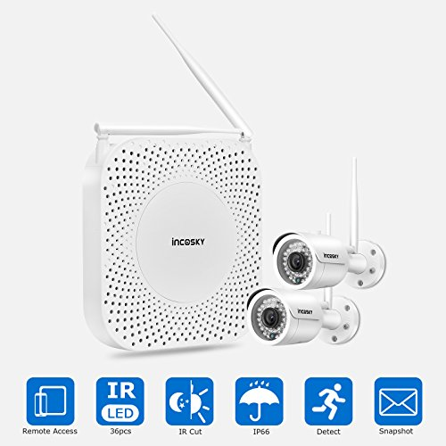 Wireless Security Camera System incoSKY 1080P WiFi Video NVR with 2 Wireless Mini Bullet IP Cameras Waterproof IP66 Night Vision for Home Surveillance, W5 by incoSKY