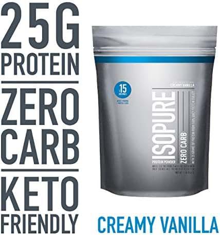 Isopure Zero Carb, Keto Friendly Protein Powder, 100% Whey Protein Isolate, Flavor: Creamy Vanilla, 1 Pound