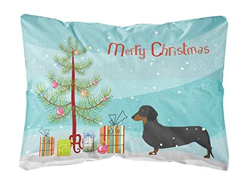 Caroline s Treasures BB2900PW1216 Dachshund Merry Christmas Tree Canvas Fabric Decorative Pillow, 12 x 16 , Multicolor