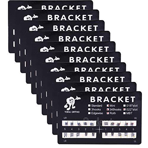 10 Packs Dental Orthodontic Brackets Brace Mini Roth 022 Slot 3-4-5 Hooks Metal