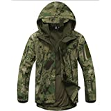 Waterproof Military Tactical Combat Softshell Jacket Outdoor Camping Hiking Camouflage Hoodie Coat (Ruins Green, L)