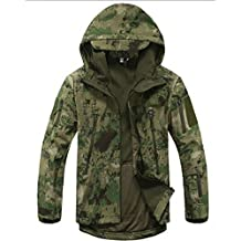Waterproof Military Tactical Combat Softshell Jacket Outdoor Camping Hiking Camouflage Hoodie Coat (Ruins Green, XXL)