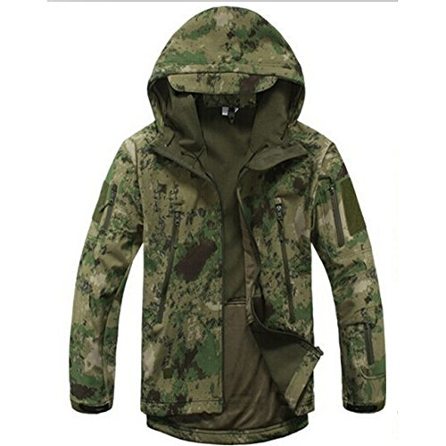 Waterproof Military Tactical Combat Softshell Jacket Outdoor Camping Hiking Camouflage Hoodie Coat (Ruins Green, XL)