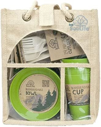 4x plates, 4x cup, 1x bowl EcoSouLife Biodegradable Eco Dine Set