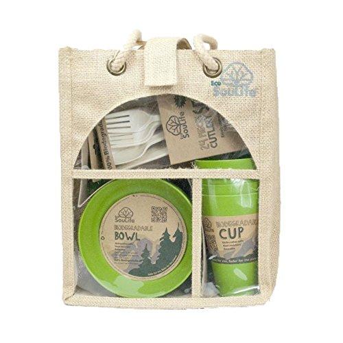 Ecosoulife生分解性Eco Dineセット – ( 4 xプレート、4 xカップ、1 xボウル) B00CK99E9M グリーン グリーン