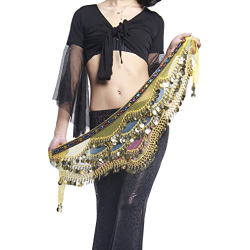 [UPRIVER GALLERY Chiffon Silver Metal Coin Rainbow Belly Dance Hip Scarf With Gem] (Scarf Coin Belly Dance Costumes)