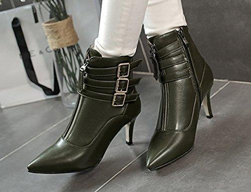 Bottines Vert Style Pointue Aisun Femme Lanières Sexy qH4vxXwZ