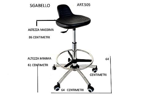 Uni form sgabello regolabile cromato con sedile in pulioretano
